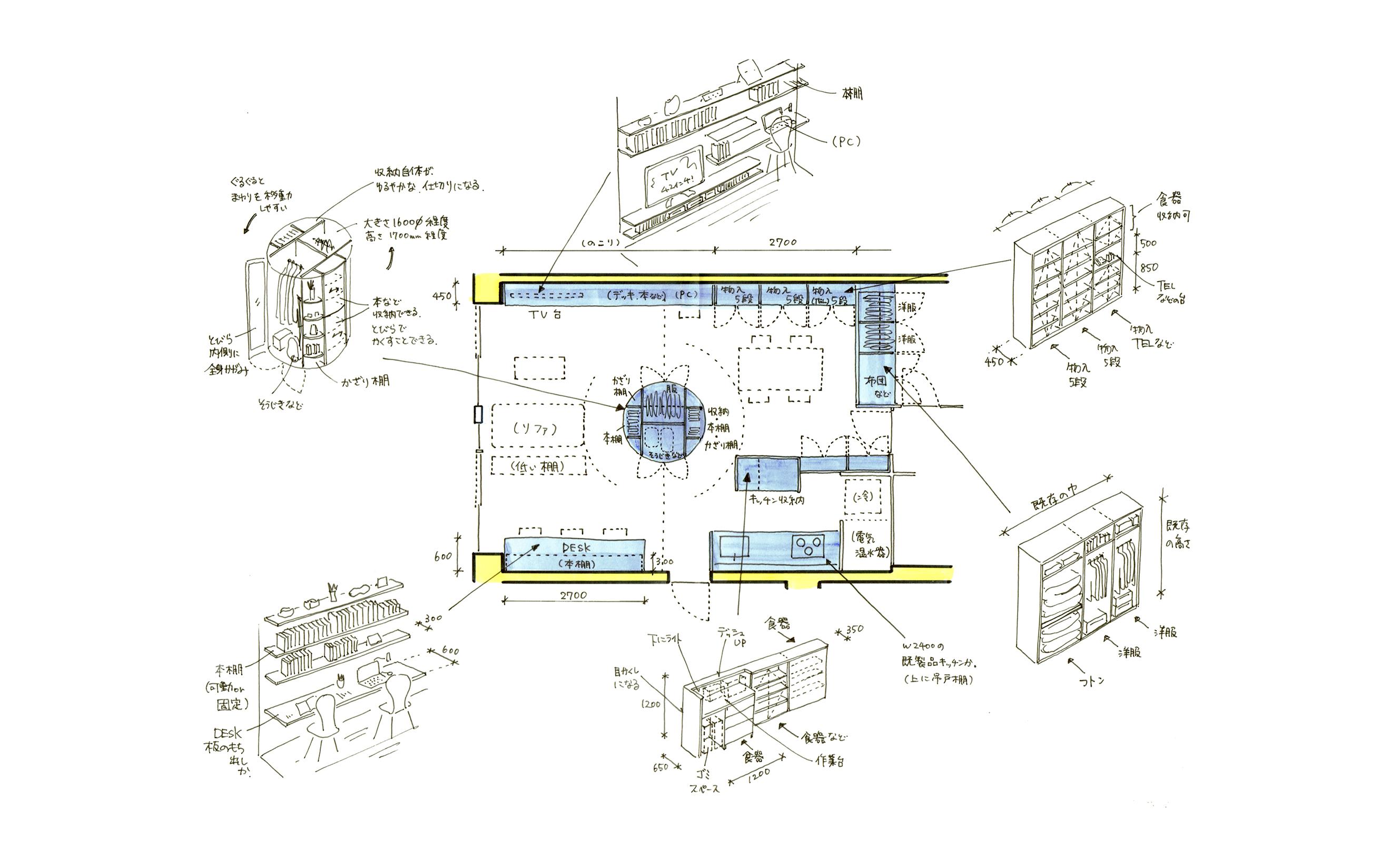 ★丸い家具の家スケッチ修正6